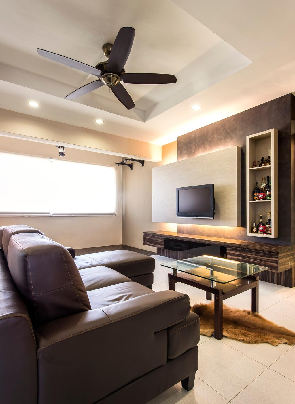 Contemporary, Condo, Living Room, Bedok Reservoir, Interior Designer, Space Factor, Ceiling Fan, False Ceiling, Sofa, Coffee Table, Chair, Table, Glass Table, Tv Console, Feature Wall, Concealed Lighting, Shelf, Shelves, Display Shelf, Brown, Electronics, Entertainment Center, Home Theater, Indoors, Interior Design, Room