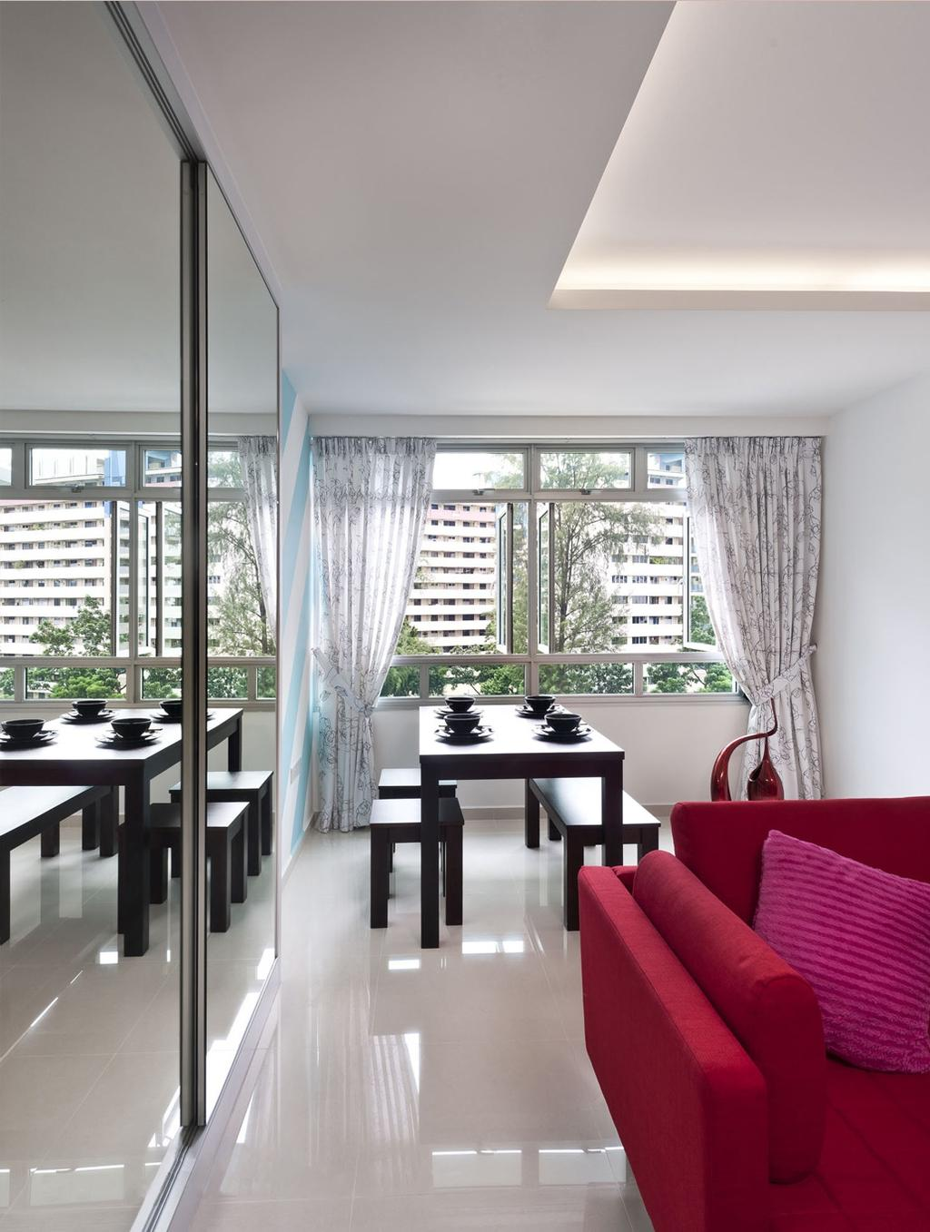 Modern, HDB, Dining Room, Bendemeer, Interior Designer, Space Factor, Dining Table, Table, Chair, Mirror, Full Length Mirror, Concealed Lighting, False Ceiling, Marble Flooring, Furniture, Indoors, Interior Design, Room