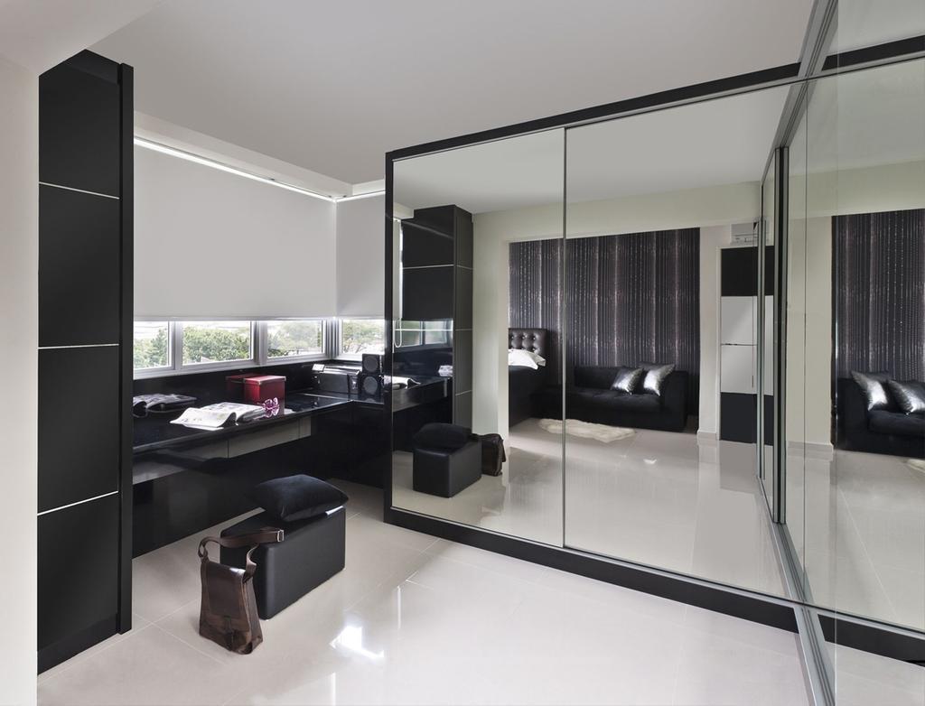 Modern, HDB, Bedroom, Bendemeer, Interior Designer, Space Factor, Mirror, Full Length Mirror, Closet, Wardrobe, Storage, Table, Blinds, Black, Door, Sliding Door, Indoors, Interior Design, Room