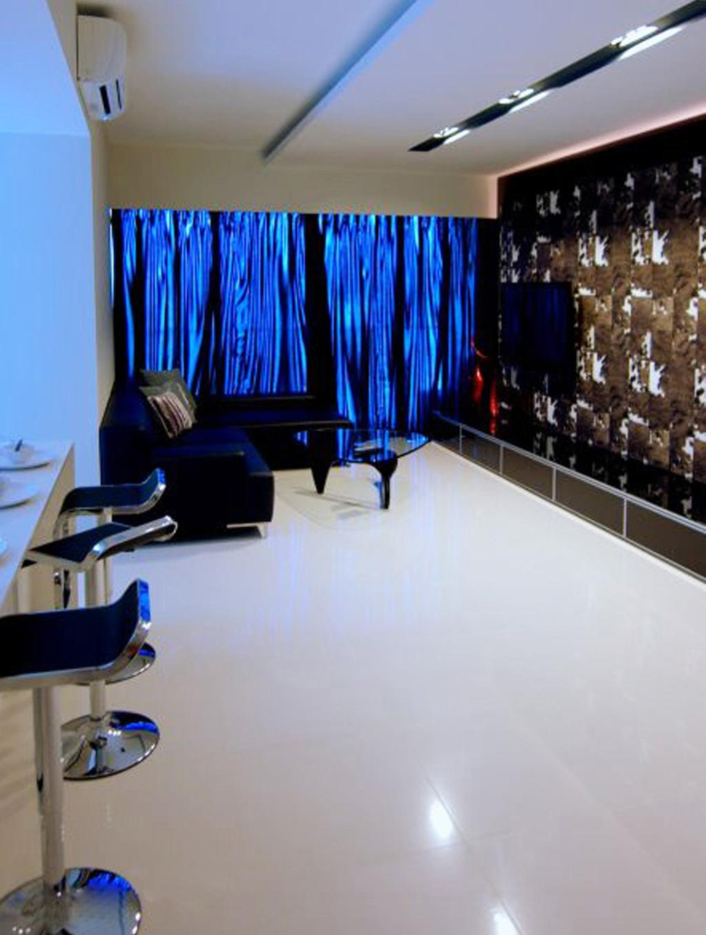 Modern, HDB, Living Room, The Centris, Interior Designer, Space Factor, Recessed Lighting, Indented Lighting, Concealed Lighting, False Ceiling, Barstools, Chair, Sofa, Coffee Table, Table, Glass Table, Wallpaper, Tv Console