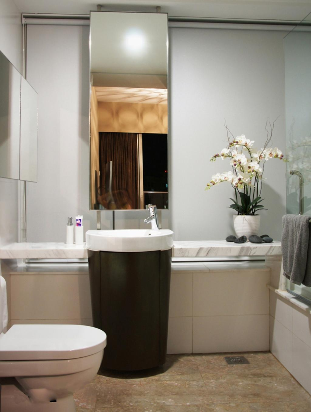 Modern, HDB, Bathroom, The Centris, Interior Designer, Space Factor, Marble Flooring, Vessel Sink, Bathroom Counter, Mirror, Marble Surface, White, Flora, Jar, Plant, Potted Plant, Pottery, Vase, Art, Blossom, Flower, Flower Arrangement, Ikebana, Ornament