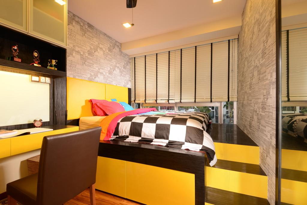 Transitional, Condo, Bedroom, Grandeur8, Interior Designer, Voila, Black, Yellow, Raw, Feature, Wall, Venetian Blinds, Hidden Storage, Steps, Chair, Recessed Lighting, Indoors, Room, Couch, Furniture