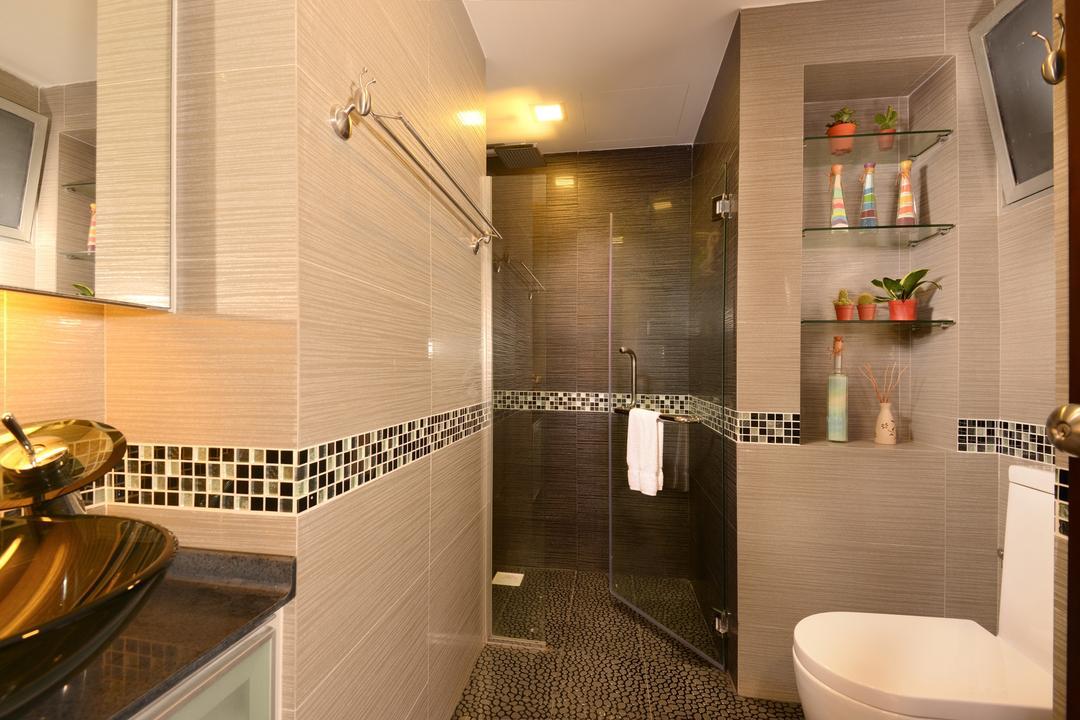 Grandeur8, Voila, Transitional, Bathroom, Condo, Laminate, Mosaic, Tile, Glass, Shelf, Cutout, Storage, Vein, Mirror, Rack, Recessed Lighting, Plant, Panel, Indoors, Interior Design, Room