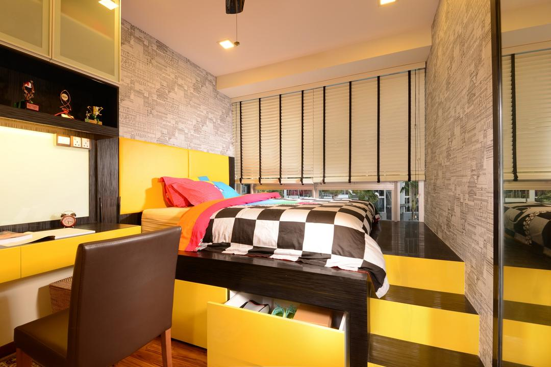 Grandeur8, Voila, Transitional, Bedroom, Condo, Black, Yellow, Raw, Feature, Wall, Venetian Blinds, Recesed Lighting, Display Unit, Chair, Hidden Storage, Window, Steps, Couch, Furniture, Indoors, Room