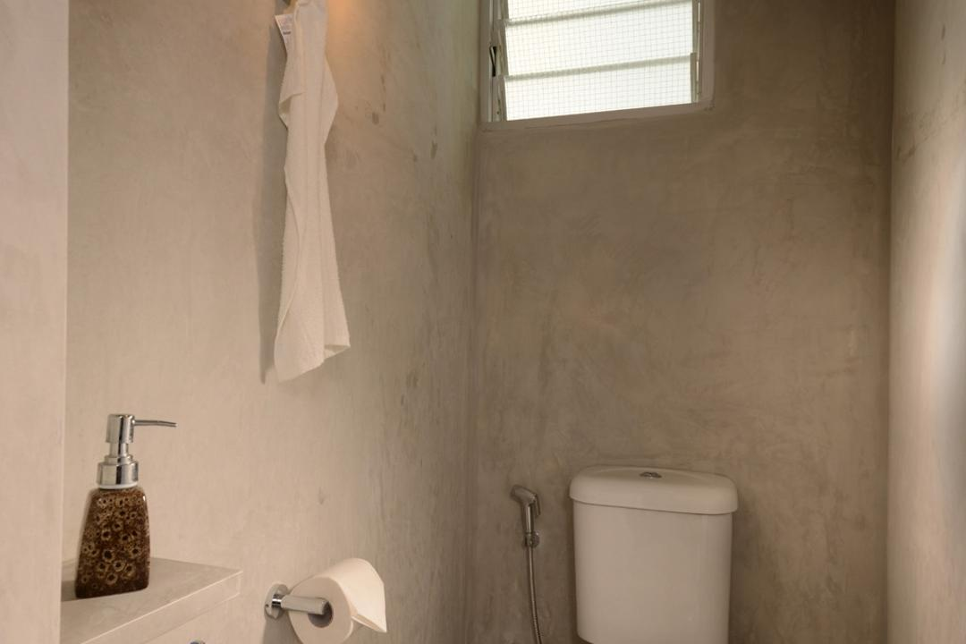 Lor Liew Lian, Voila, Industrial, Bathroom, HDB, Raw, Exposed, Concrete, Ceramic, Tile, Flooring, Screed, Concealed Lighting, Frosted Window, Panes, Square, Indoors, Interior Design, Room