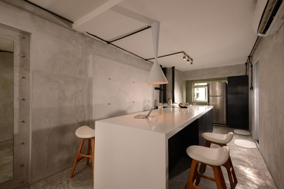 Lor Liew Lian, Voila, Industrial, Dining Room, HDB, Ceiling Light, Hanging Light, Track Lighting, Island, Bar Stool, Concrete, Wall, Exposed, Raw, Screed, Monochrome, Minimalistic, Grey, Gray, Furniture, Chair, Building, Housing, Indoors