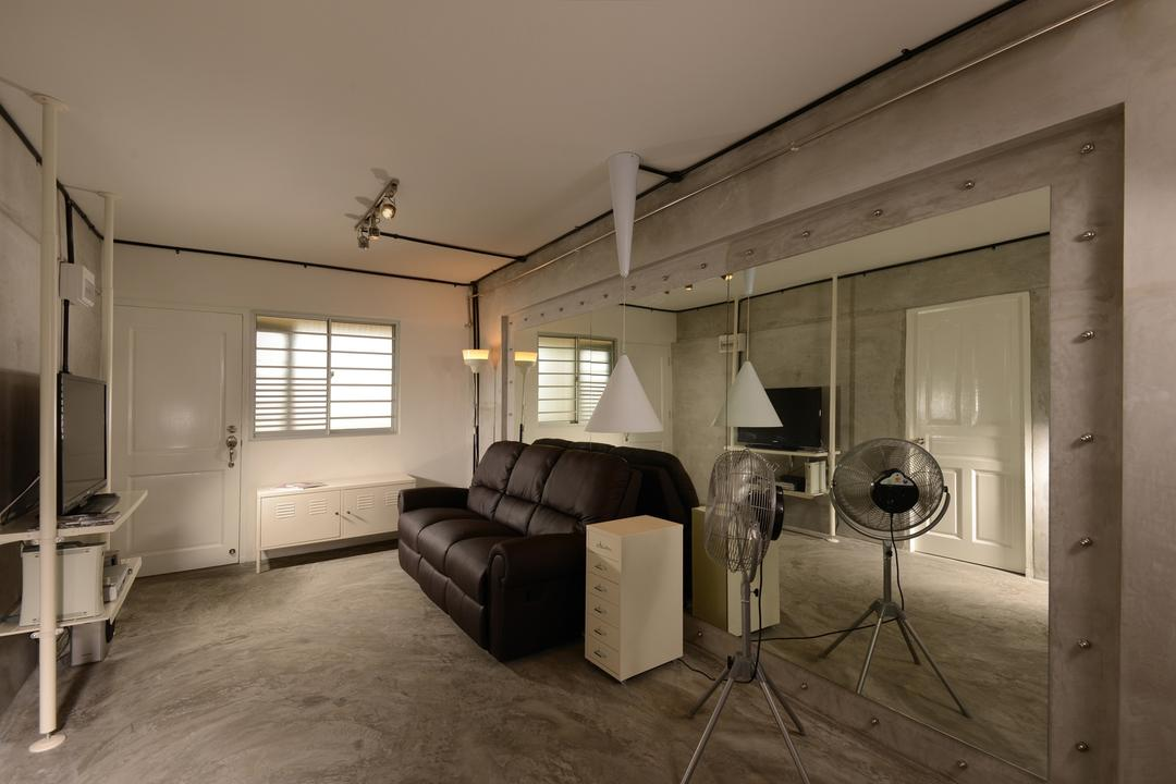 Lor Liew Lian, Voila, Industrial, Living Room, HDB, Track Lighting, Pipe Lighting, Frosted Window, Monochrome, Black, Sofa, Cabinet, Storage, Standing Fan, Concrete, Screed, Flooring, Metal, Frame, Console, Floor To Ceiling Mirror, Grey, Gray, Minimalistic