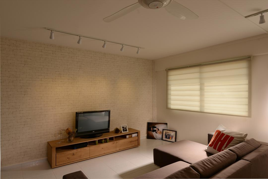 Yishun Street 22, Voila, Modern, Living Room, HDB, Exposed, Brick, Wall, Track Lighting, Window, Screen, Sofa, Sectional, Console, Woodwork, Drawer, Storage, Square, Tile, Minimalistic, Electronics, Monitor, Tv, Television, Sink, Bedroom, Indoors, Interior Design, Room