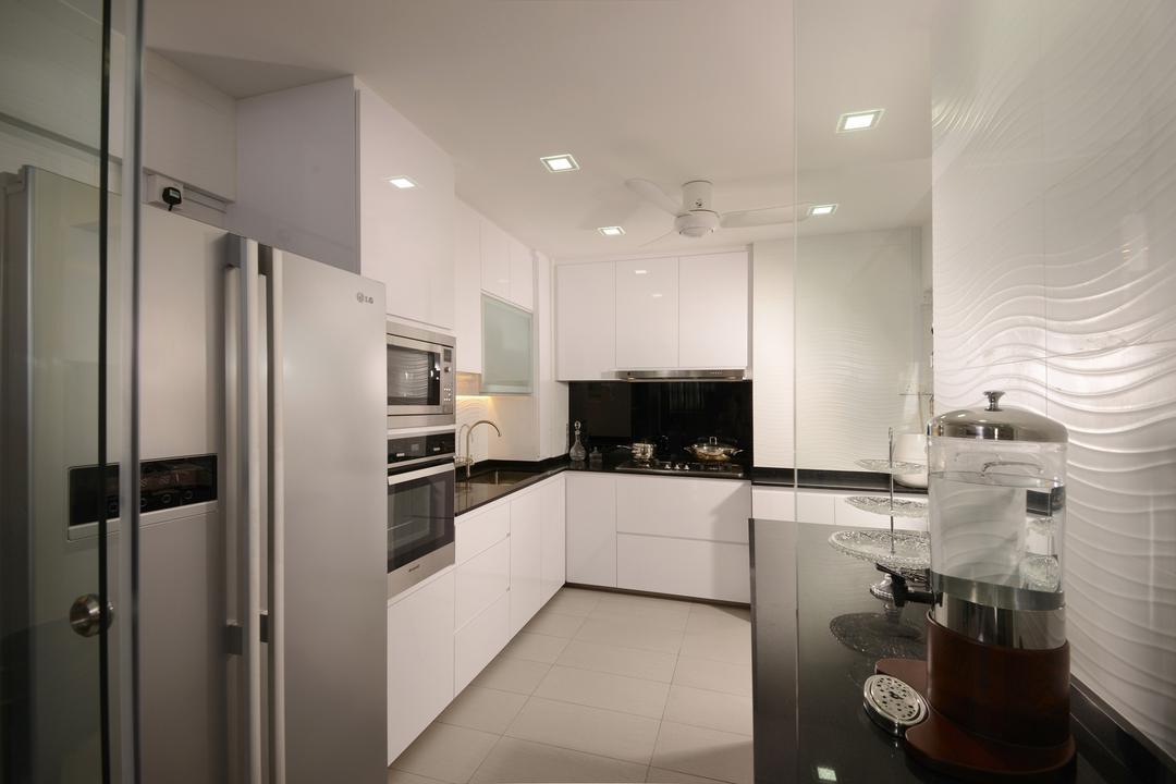 Serangoon North, Voila, Transitional, Kitchen, HDB, White, Cabinet, Laminate, Stove, Storage, Fridge, Countertop, Square, Tile, Ceramic