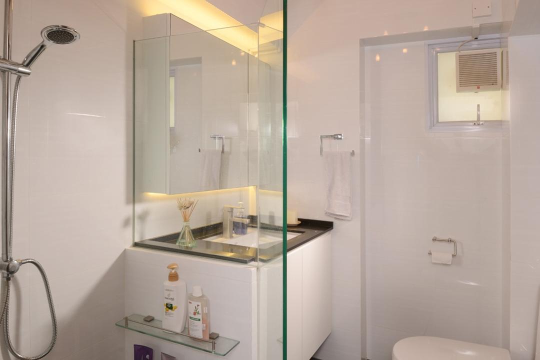 Serangoon North, Voila, Transitional, Bathroom, HDB, Rain Shower, Square, Tile, Ceramic, Glass, Panel, Shelf, Mirror, Concealed Lighting, Chandelier, Ceiling Light, Shower