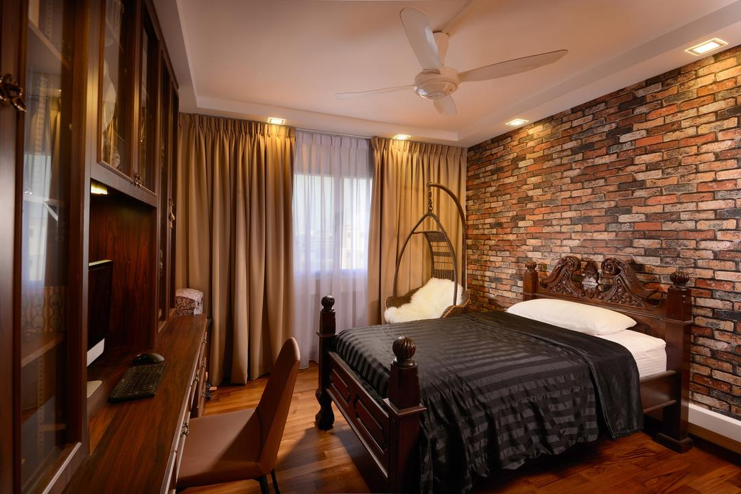 Serangoon North, Voila, Transitional, Bedroom, HDB, Woodwork, Shelf, Desk, Table, Chair, Parquet, Flooring, Four Poster Bed, Brick, Wall, Feature, Exposed, Curtains, Window, Ceilling Fan, Hanging Chair, Indoors, Interior Design, Room