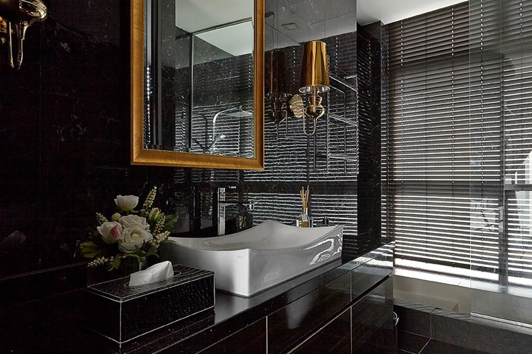 Chancery Lane, Voila, Transitional, Bathroom, Landed, Black, Sleek, Marble, Tile, Accent, White, Veins, Venetian Blinds, Square, Mirror, Wall Mounted Light, Cabinet, Storage, Indoors, Interior Design, Room, Sink