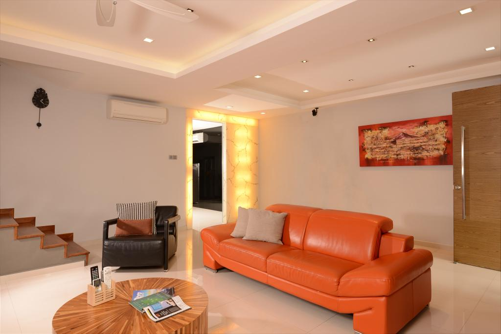 Traditional, Landed, Living Room, Tagore Ave, Interior Designer, Voila, Indented Ceiling, Concealed Lighting, Orange, Sofa, Round, Coffee Table, Recessed Lighting, Wall, Painting, Ceiling Fan, Couch, Furniture, Shelf, Indoors, Interior Design, Room