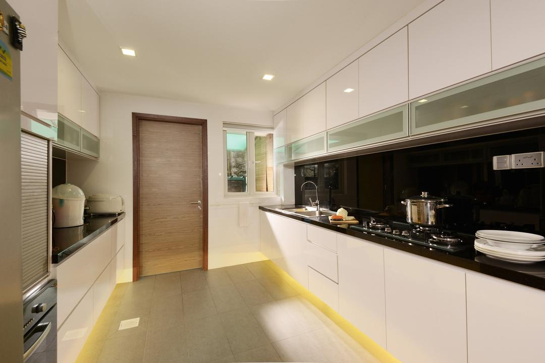 Tagore Ave, Voila, Traditional, Kitchen, Landed, Concealed Lighting, Square, Ceramic, Tiles, Stove, Monochrome, Black, Countertop, Drawer, Cabinet, Woodwork, Storage, Recessed Lighting, Bowl, Door, Indoors, Interior Design
