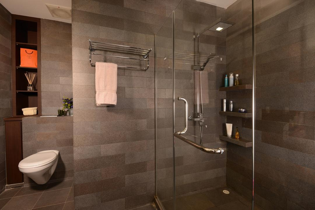 Tagore Ave, Voila, Traditional, Bathroom, Landed, Square, Tile, Glass, Panel, Shelf, Towel, Rack, Cutout, Storage, Wall, Toilet, Indoors, Interior Design, Room