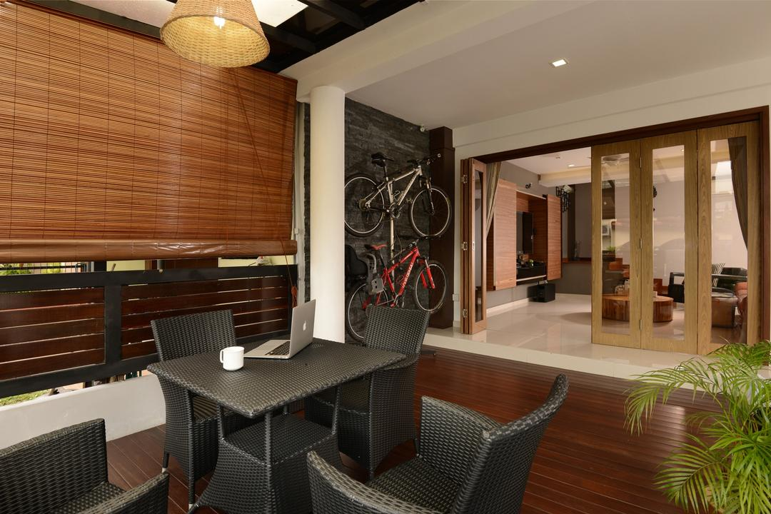 Tagore Ave, Voila, Traditional, Garden, Landed, Wicker, Woven, Table, Chair, Outdoor, Exterior, Deck, Flooring, Hanging Light, Screen, Pillar, Recessed Lighting, Bicycle, Bike, Transportation, Vehicle, Flora, Jar, Plant, Potted Plant, Pottery, Vase, Furniture, Couch, Dining Room, Indoors, Interior Design, Room