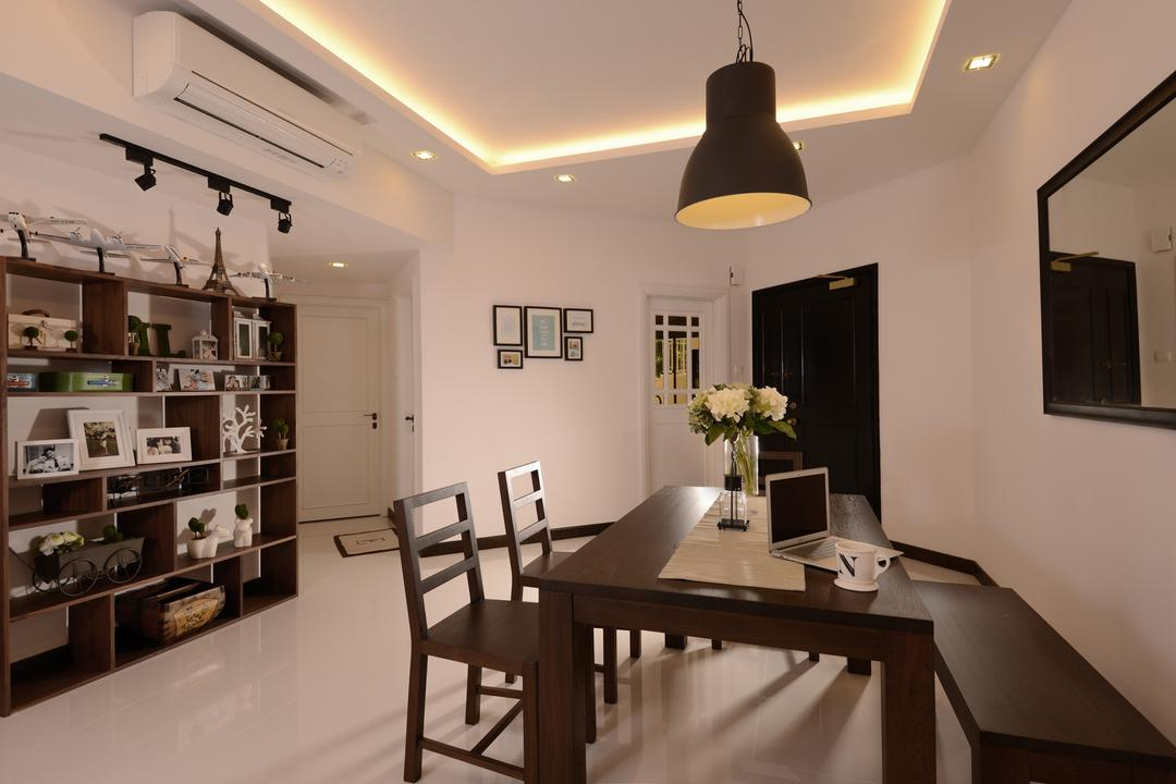 Villa Marina, Voila, Modern, Dining Room, Condo, Indented Ceiling, Concealed Lighting, Dining Table, Hanging Light, Pendant Light, Display Unit, Shelf, Track Lighting, Mirror, Bench, Indoors, Interior Design, Room, Chair, Furniture, Table, Lamp, Flora, Jar, Plant, Potted Plant, Pottery, Vase