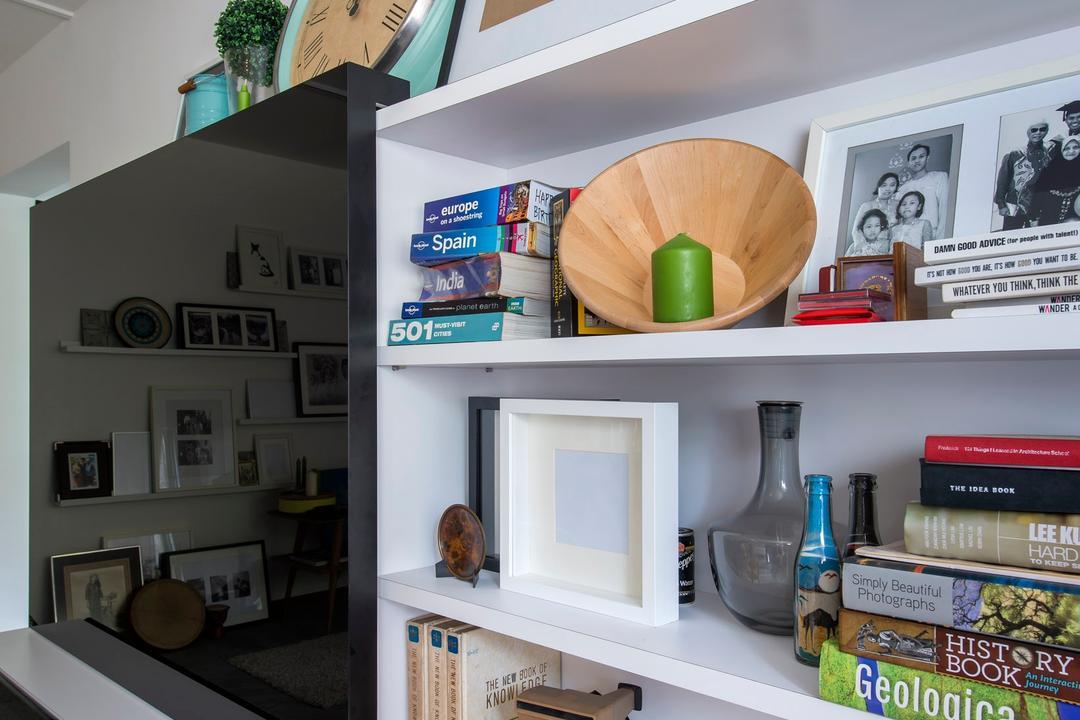 Bukit Batok, M3 Studio, Scandinavian, Living Room, HDB, Shelf, Shelves, Bookshelf, Display Shelf, Painting, Clock, Black, Laminate, Cosmetics, Mascara