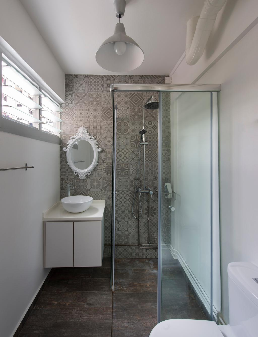 Scandinavian, HDB, Bathroom, Bukit Batok, Interior Designer, M3 Studio, Tile, Tiles, Floral, Gray, Gilded Mirror, Vessel Sink, Bathroom Counter, Glass Cubicle, Rain Shower, Cement Flooring, White, Hanging Light, Lighting, Window Shutters, Shutters, Indoors, Interior Design, Room