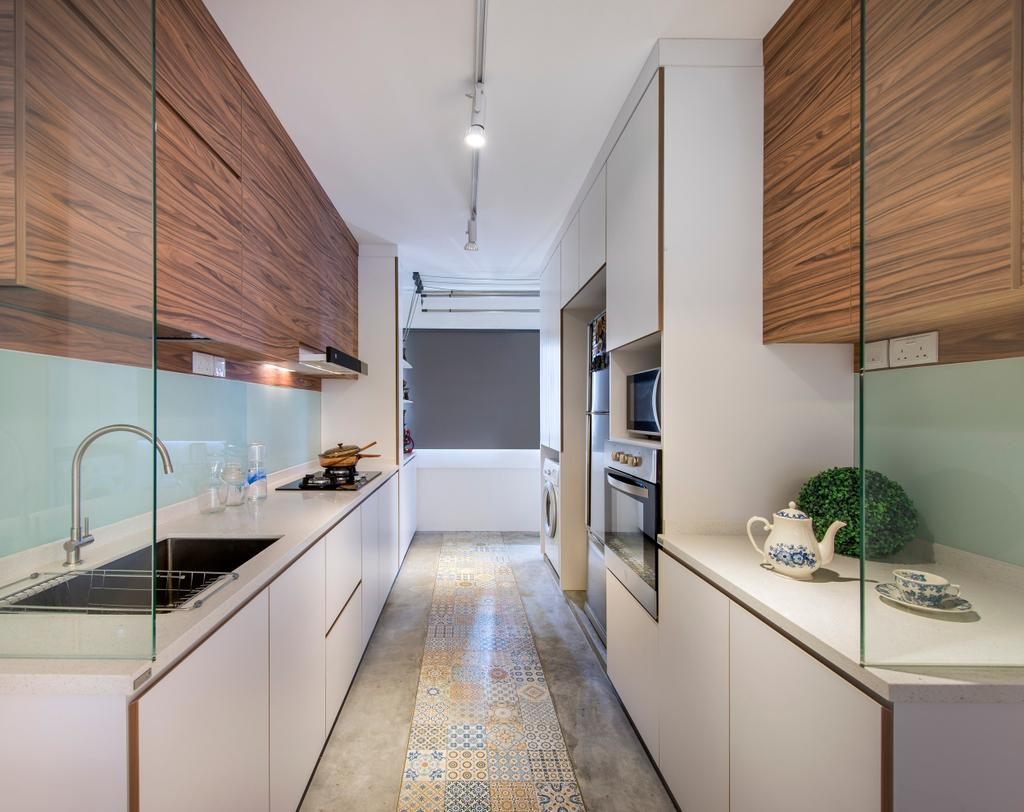 Scandinavian, HDB, Kitchen, Bukit Batok, Interior Designer, M3 Studio, Glass Wall, Cabinet, Wood Laminate, Wood, Laminate, Kitchen Counter, Track Lighting, Floral, Tile, Tiles, Cement Flooring, Laundry Room, Gray, Linear, Indoors, Interior Design, Art, Porcelain, Pottery