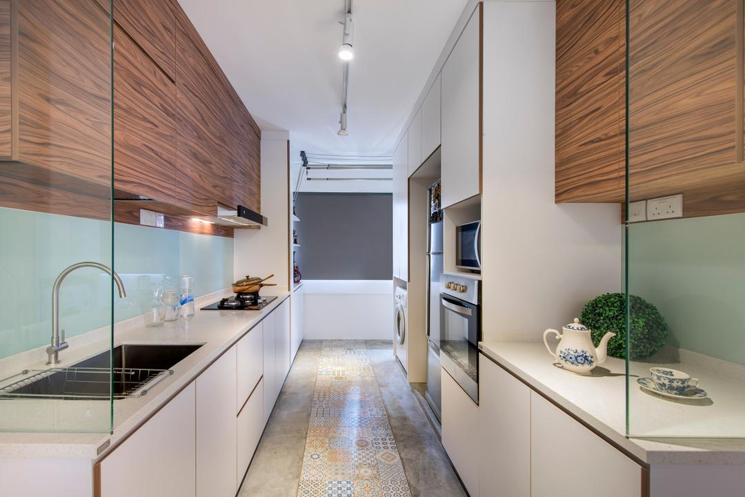 Bukit Batok, M3 Studio, Scandinavian, Kitchen, HDB, Glass Wall, Cabinet, Wood Laminate, Wood, Laminate, Kitchen Counter, Track Lighting, Floral, Tile, Tiles, Cement Flooring, Laundry Room, Gray, Linear, Indoors, Interior Design, Art, Porcelain, Pottery