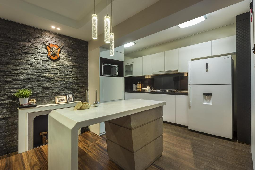 Clementi, M3 Studio, Eclectic, Dining Room, HDB, Parquet, Dining Table, Table, Hanging Light, Lighting, Pendant Light, Stone Wall, Feature Wall, Raw, Stacco Wall, Black, Mantlepiece, White, Cabinet, False Ceiling, Wall Art, Wall Sculpture, Medival, Indoors, Interior Design, Kitchen, Room