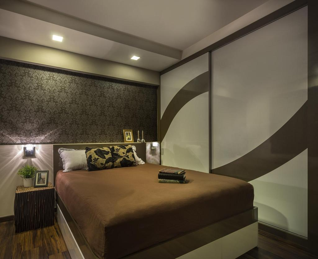 Eclectic, HDB, Bedroom, Clementi, Interior Designer, M3 Studio, Wallpaper, Baroque, Muted Tones, Wardrobe, Closet, Brown, Parquet, Side Tbale, Nightstand, Wicker, Wall Lamp, Couch, Furniture, Bed, Indoors, Interior Design, Banister, Handrail, Staircase, Room