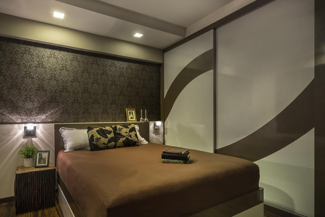 Clementi, M3 Studio, Eclectic, Bedroom, HDB, Wallpaper, Baroque, Muted Tones, Wardrobe, Closet, Brown, Parquet, Side Tbale, Nightstand, Wicker, Wall Lamp, Couch, Furniture, Bed, Indoors, Interior Design, Banister, Handrail, Staircase, Room