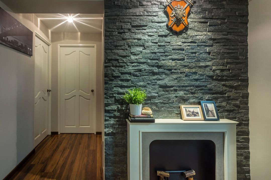 Clementi, M3 Studio, Eclectic, Dining Room, HDB, Mantlepiece, Stone Wall, Feature Wall, Stacco Wall, Raw, Black, White, Parquet, Medival, Wall Art, Wall Sculpture, Fireplace, Hearth, Flora, Jar, Plant, Potted Plant, Pottery, Vase, Flooring