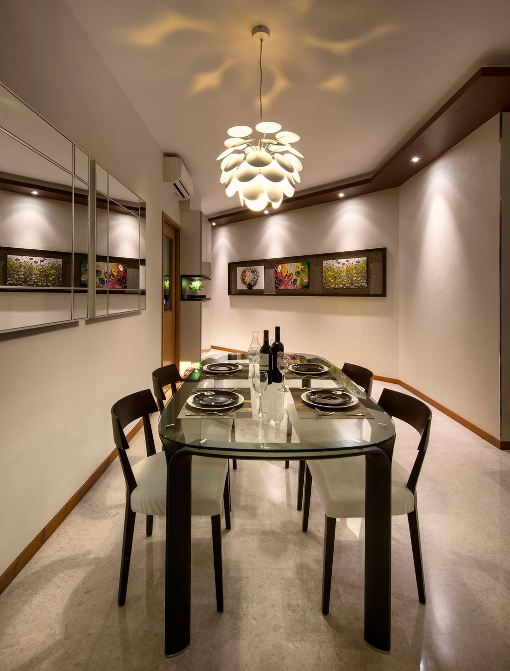 Transitional, Condo, Dining Room, Clover by the Park, Interior Designer, M3 Studio, Hanging Light, Lighitng, Painting, Dining Table, Table, Chair, Glass Table, Mirror, Marble Flooring, White, False Ceiling, Indented Wall, Recessed Wall, Robot, Furniture, Indoors, Interior Design, Room, Window
