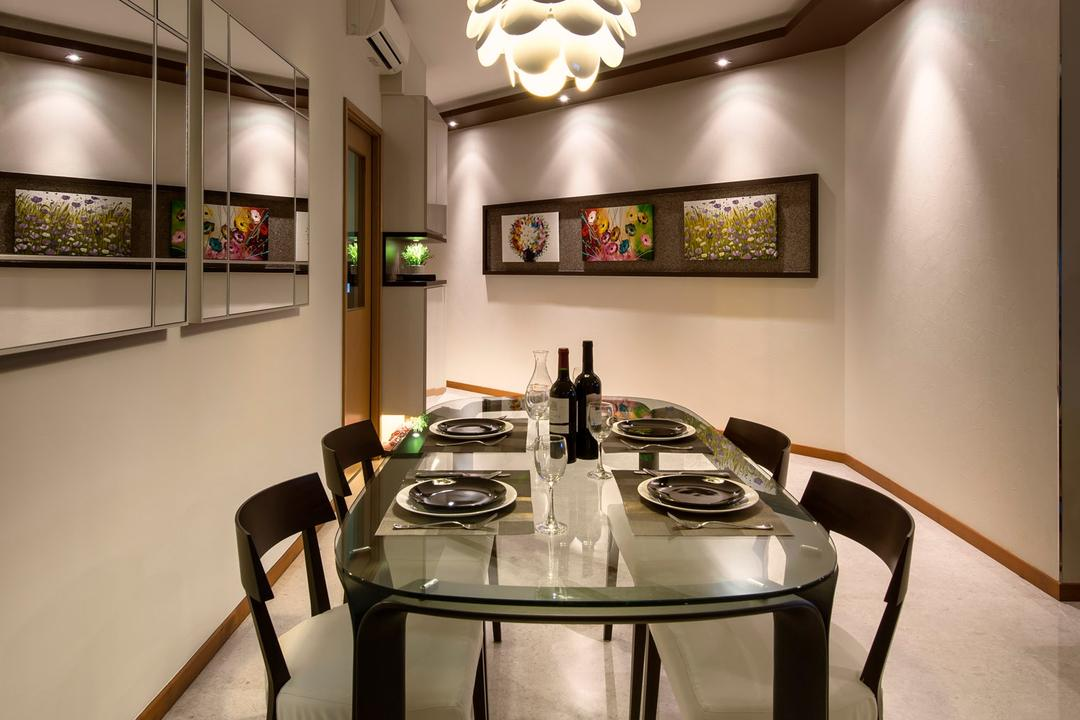 Clover by the Park, M3 Studio, Transitional, Dining Room, Condo, Hanging Light, Lighitng, Painting, Dining Table, Table, Chair, Glass Table, Mirror, Marble Flooring, White, False Ceiling, Indented Wall, Recessed Wall, Robot, Furniture, Indoors, Interior Design, Room, Window