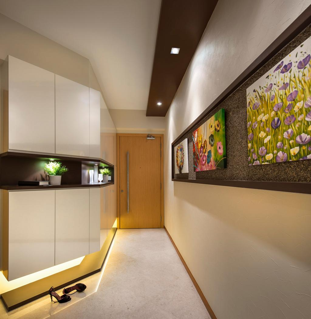 Transitional, Condo, Living Room, Clover by the Park, Interior Designer, M3 Studio, Painting, Indented Wall, Recessed Wall, White, Cabinet, Shelf, Shelves, Storage, Indented Shelf, Recessed Shelf, Display Shelf, Concealed Lighting, Flora, Jar, Plant, Potted Plant, Pottery, Vase