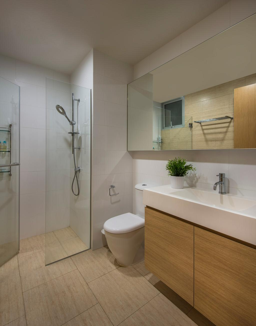 Transitional, Condo, Bathroom, Clover by the Park, Interior Designer, M3 Studio, Neutral Tones, Wood Laminate, Wood, Laminate, Mirror, Vessel Sink, Bathroom Counter, Tile, Tiles, Glass Wall, Glass Doors, Glass Cubicle, White, Toilet, Shower, Indoors, Interior Design, Room