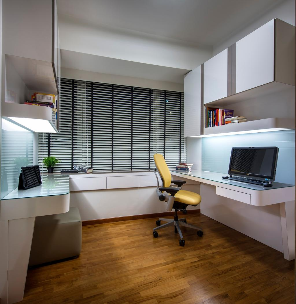 Transitional, Condo, Study, Clover by the Park, Interior Designer, M3 Studio, Venetian Blinds, Parquet, Study Table, Cabinet, Shelf, Bookshelf, Stools, Chair, White, Glass Wall, Indoors, Interior Design, Electronics, Lcd Screen, Monitor, Screen