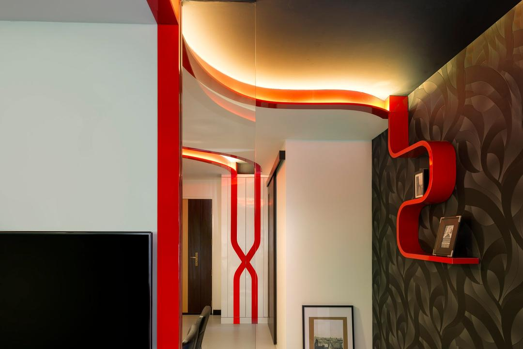 Punggol Drive, M3 Studio, Eclectic, Living Room, HDB, Wallpaper, Shelf, Display Shelf, Painting, Concealed Lighting, False Ceiling, Curved, White, Red, Projection Screen, Screen, Indoors, Interior Design