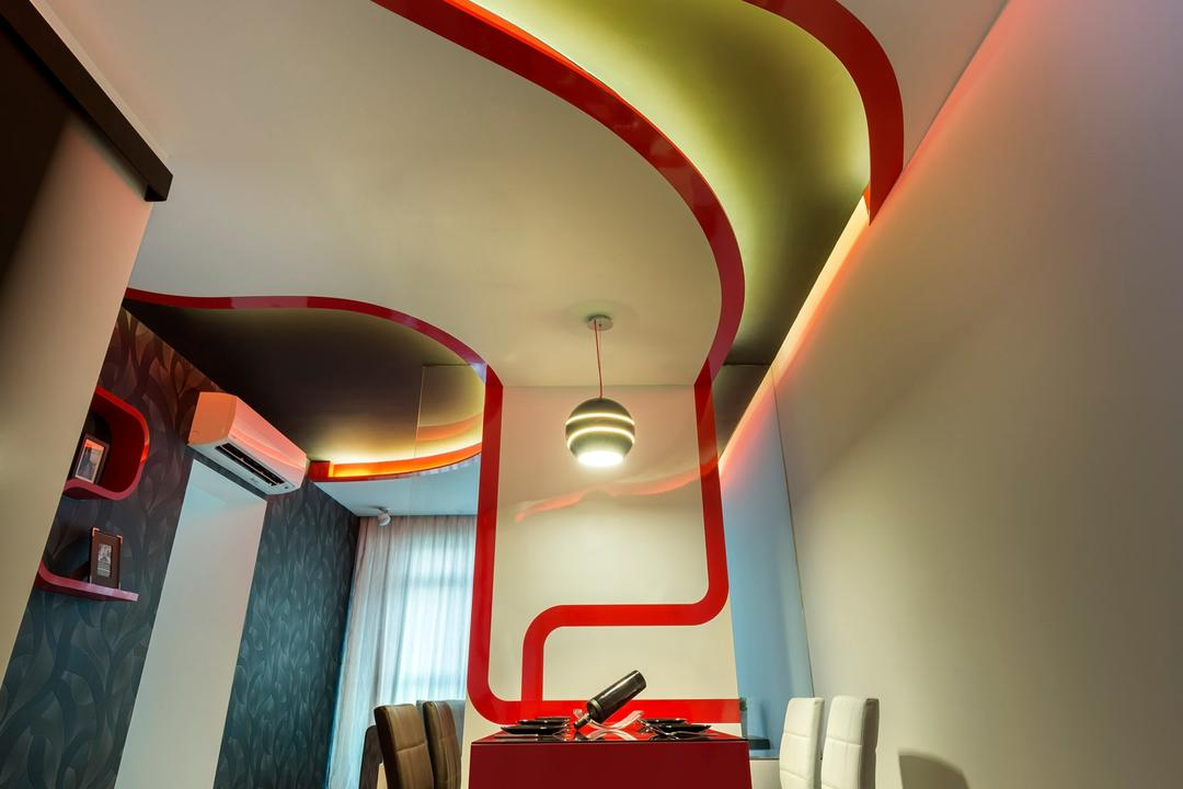 Punggol Drive, M3 Studio, Eclectic, Dining Room, HDB, Dining Table, Table, Chair, White, Red, Concealed Lighting, False Ceiling, Curved, Wallpaper, Tile, Tiles, Shelf, Display Shelf, Curtains, Light Fixture
