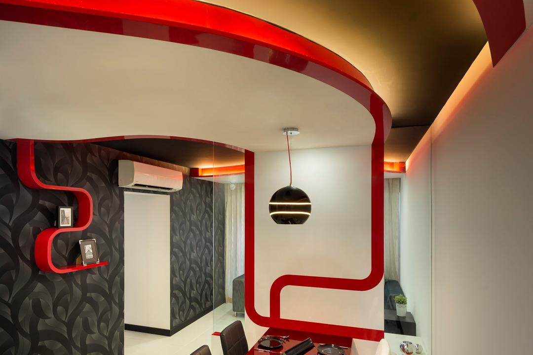 Punggol Drive, M3 Studio, Eclectic, Dining Room, HDB, Dining Table, Black, White, Red, Chair, Hanging Light, Pendant Light, Lighting, Shelf, Display Shelf, Wallpaper, Concealed Lighting, False Ceiling, Curved, Glass Wall