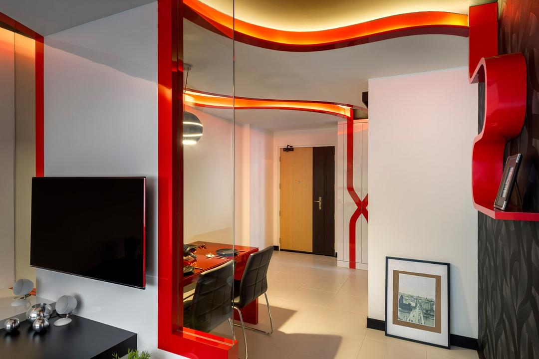 Punggol Drive, M3 Studio, Eclectic, Dining Room, HDB, Tv Console, Black, Red, White, Concealed Lighting, False Ceiling, Curved, Shelf, Dining Table, Table, Hanging Light, Pendant Light, Tile, Tiles, Glass Wall, Painting, Art, Art Gallery, Electronics, Lcd Screen, Monitor, Screen