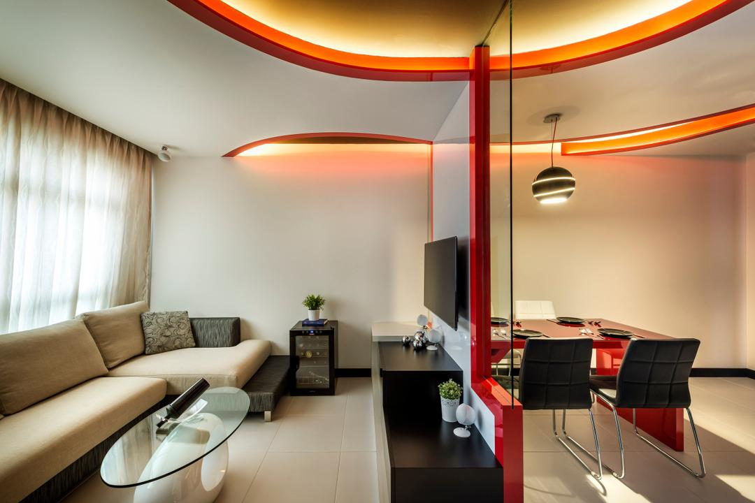 Punggol Drive, M3 Studio, Eclectic, Living Room, HDB, Curved, False Ceiling, White, Red, Sofa, Coffee Table, Table, Tv Console, Mirror, Full Length Mirror, Curtains, Black, Side Table, Wine Cooler, Chair, Furniture, Indoors, Interior Design