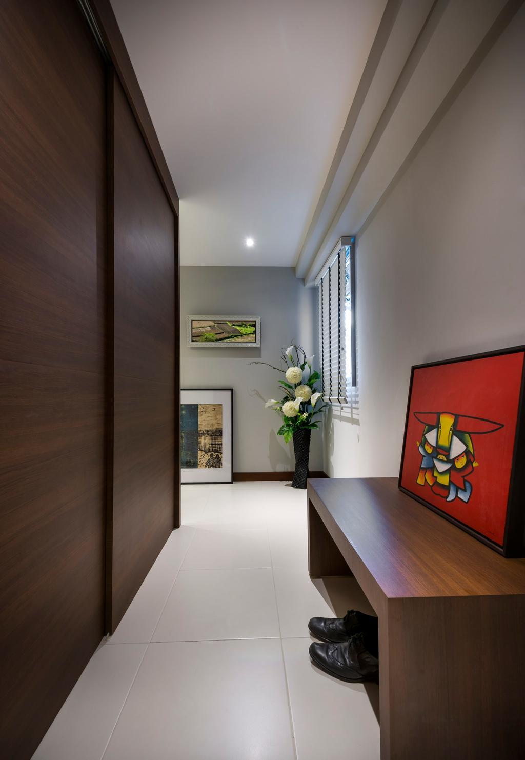 Contemporary, HDB, Punggol Walk, Interior Designer, M3 Studio, Cabinet, Wood, Laminate, Wood Laminate, Bench, Tile, Tiles, White, Painting, Plants, Corridor
