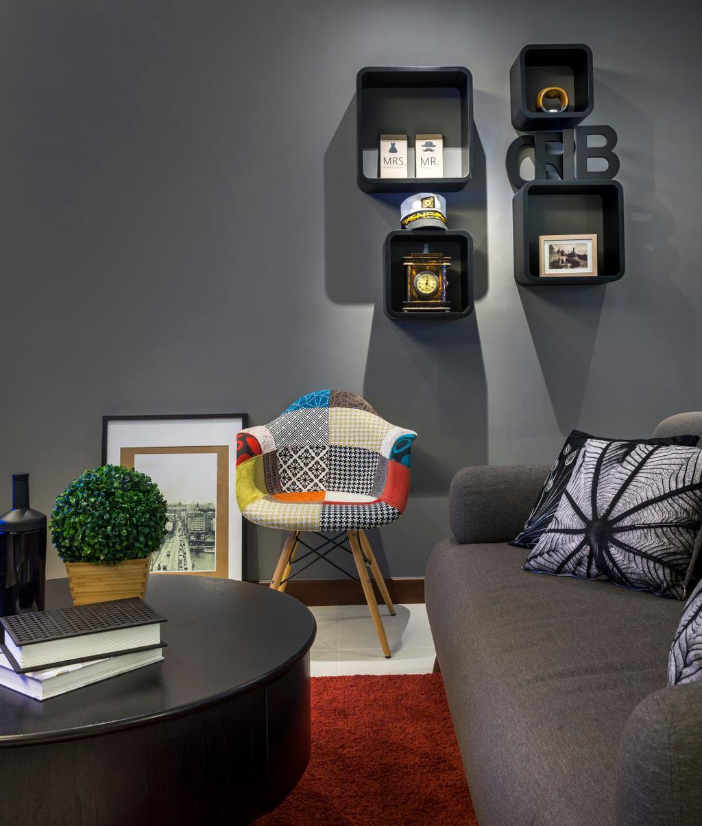 Contemporary, HDB, Living Room, Punggol Walk, Interior Designer, M3 Studio, Sofa, Cushions, Rug, Coffee Table, Table, Shelf, Shelves, Gray, Armchair, Painting, Cubbyholes, Display Shelf, Chair, Furniture, Couch, Machine, Ramp