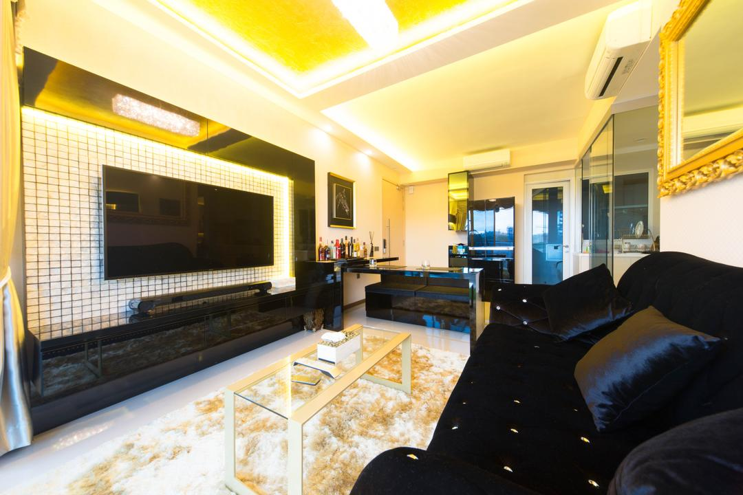 Tampines Ave 1, Unity ID, Traditional, Living Room, HDB, Rug, Tile, Tiles, Tv Console, Coffee Table, Table, Glass Table, Sofa, Quilted, Gilded Mirror, Mirror, False Ceiling, Concealed Lighting, White