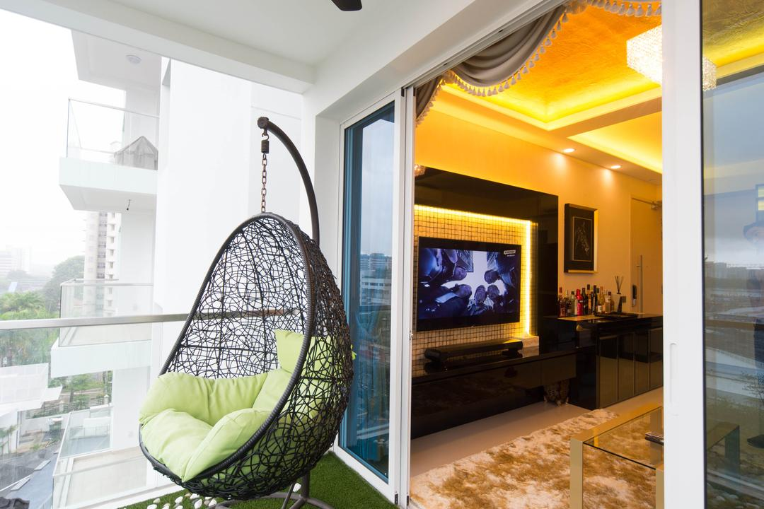 Tampines Ave 1, Unity ID, Traditional, Balcony, HDB, Outdoors, Artificial Lawn, Hanging Chair, Woven, Pebbles, Ceiling Fan, Glass Railing, Glass Balustrade, Balustrade, Railing, Rug