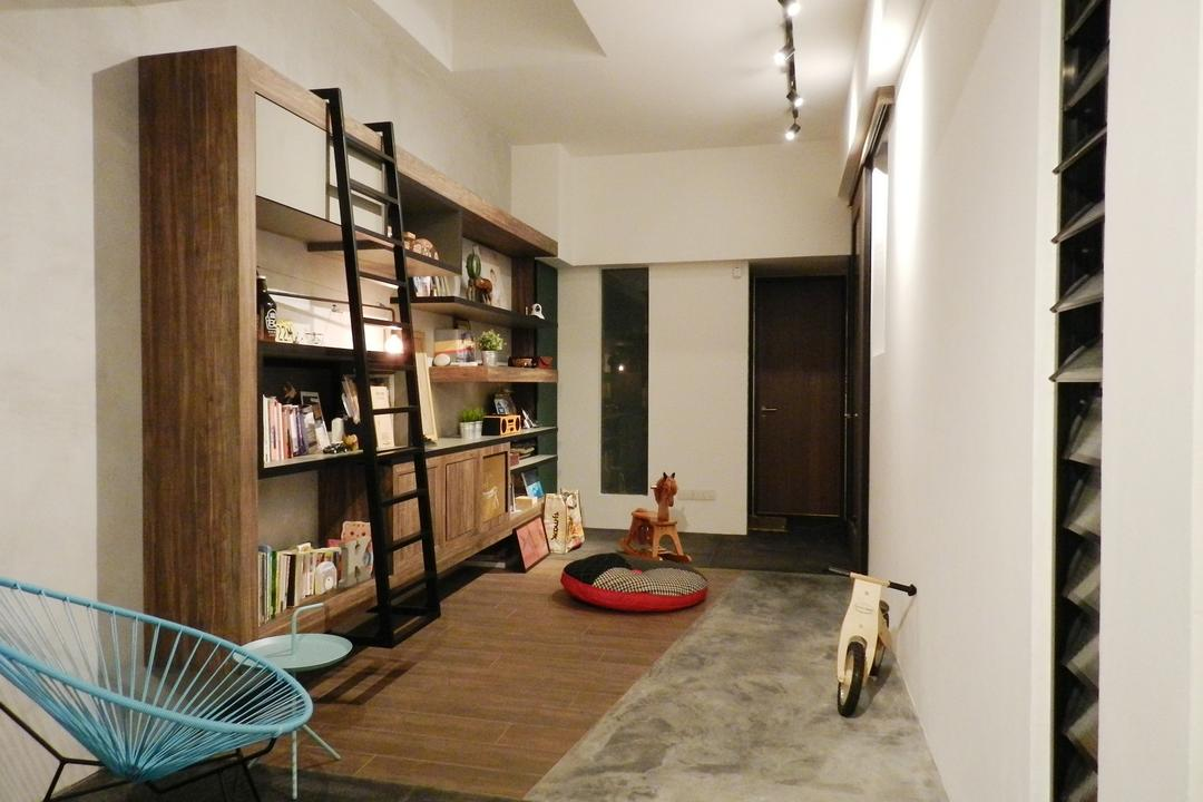 Meng Suan Road, Habit, Eclectic, Study, Landed, Parquet, Cement Flooring, Window Shutters, Shutters, Chair, Display Unit, Ladder, Bookcase, Shelf, Shelves, Wood Laminate, Wood, Laminate, Track Lighting, Beanbag, Full Length Windows, Furniture