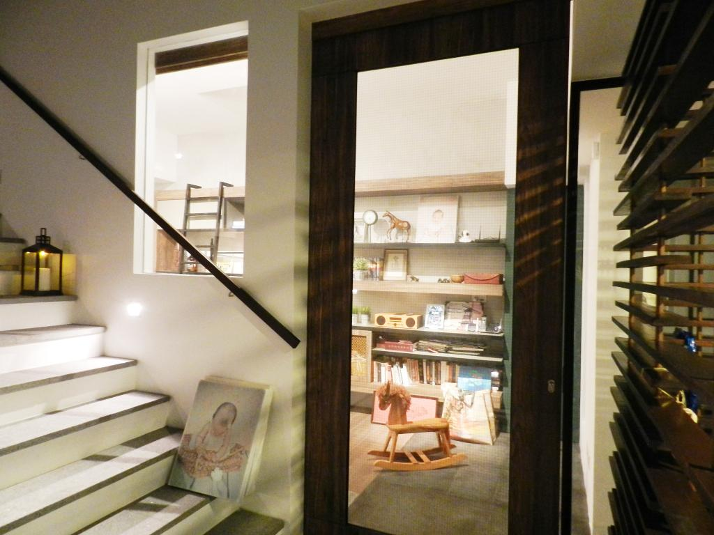 Eclectic, Landed, Meng Suan Road, Interior Designer, Habit, Stairs, Staircase, Handrails, Venetian Blinds, Doors, Glass Doors, Painting, Candle Holder, Shelf, Shelves, Banister, Handrail, Light Fixture, Indoors, Interior Design
