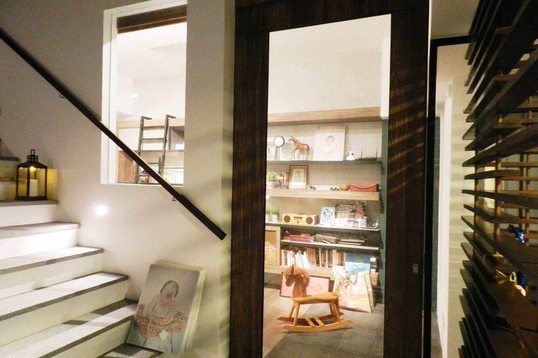 Meng Suan Road, Habit, Eclectic, Landed, Stairs, Staircase, Handrails, Venetian Blinds, Doors, Glass Doors, Painting, Candle Holder, Shelf, Shelves, Banister, Handrail, Light Fixture, Indoors, Interior Design