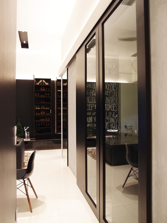 Modern, HDB, The Peak @ Toa Payoh, Interior Designer, Habit, Recessed Lighting, Indented Lighting, Shoe Rack, Cabinet, Storage, Glass Doors, Black, White, Monochrome