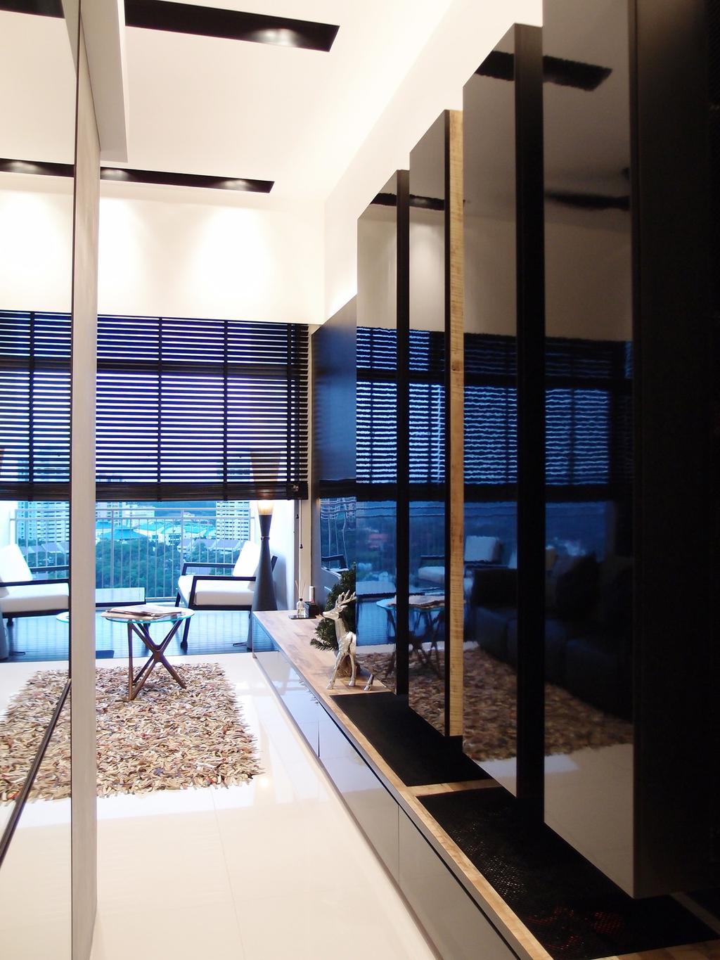 Modern, HDB, The Peak @ Toa Payoh, Interior Designer, Habit, Rug, Coffee Table, Table, Venetian Blinds, Recessed Lighting, Indented Lighting, Storage, Cabinet, Balcony, Chair, Standing Lamp, Railing, Balustrade