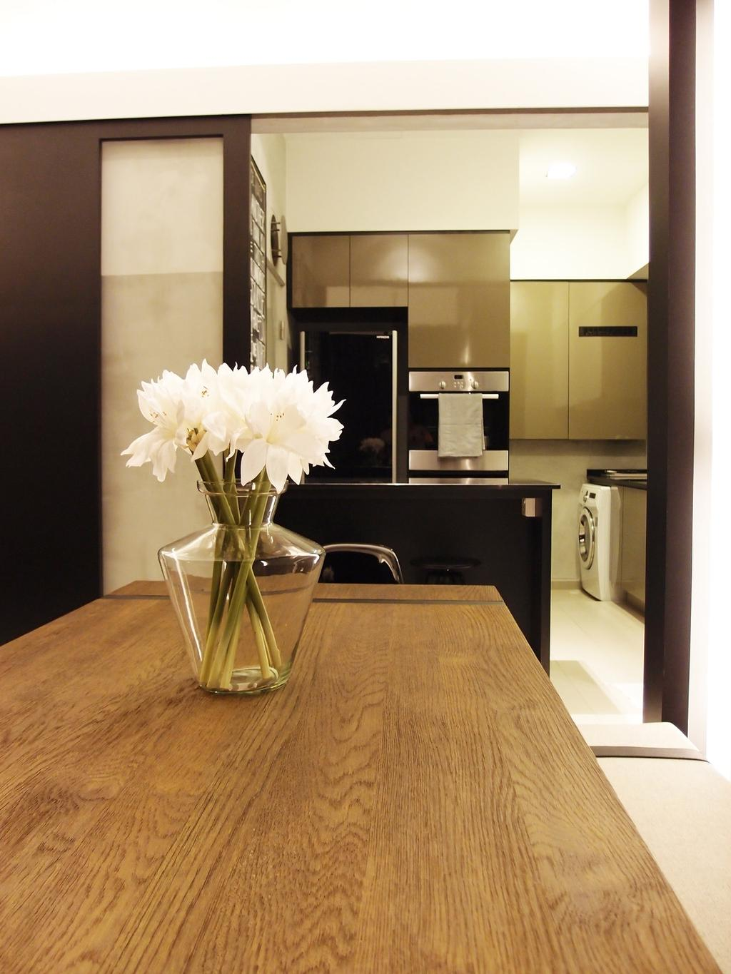 Modern, HDB, Dining Room, The Peak @ Toa Payoh, Interior Designer, Habit, Dining Table, Table, Wood Laminate, Wood, Laminate, Bench, Sliding Doors, Glass Sliding Doors, Plants, Laundry Room, Jar, Pottery, Vase, Flora, Plant, Potted Plant, Indoors, Interior Design, Room, Furniture