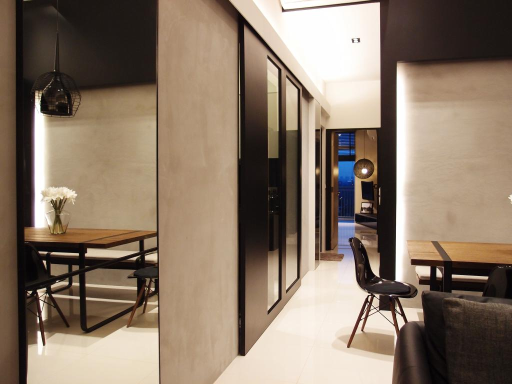 Modern, HDB, The Peak @ Toa Payoh, Interior Designer, Habit, Hanging Light, Pendant Light, Chair, Concealed Lighting, Mirror, Full Length Mirror, Black, White, Monochrome, Couch, Furniture, Corridor, Building, Housing, Indoors, Dining Table, Table